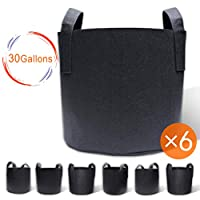 Gardzen 6-Pack 30 Gallon Grow Bags, Aeration Fabric Pots with Handles