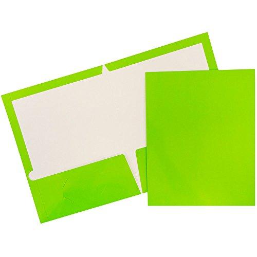 - JAM PAPER Laminated Two Pocket Glossy Folders - Lime Green - Bulk 25/Pack