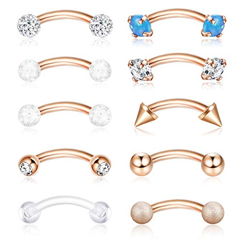 (ORAZIO 16G 6MM Eyebrow Belly Button Rings Rook Earrings Daith Helix Piercings Barbell Body Jewelry Rose Gold Tone)