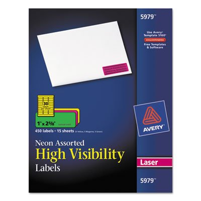 Avery Products - Avery - High-Visibility Laser Labels, 1 x 2-5/8, Assorted Neons, 450/Pack - Sold As 1 Pack - Capture attention with these high-visibility labels! - Ideal for priority messages, addressing, color-coding, and identification, warning labels