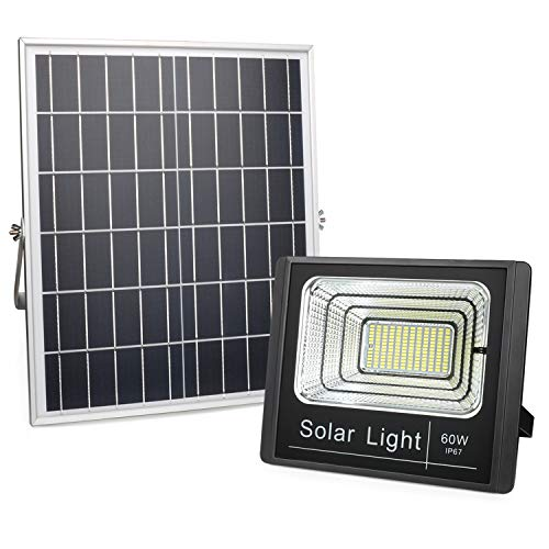 60W Solar Powered Flood Lights Outdoor, Dusk to Dawn Solar Security Flood Light IP67 Waterproof Super Bright Remote Control Solar Light Fixture for Yard, Garden, Swimming Pool, Pathway, Deck