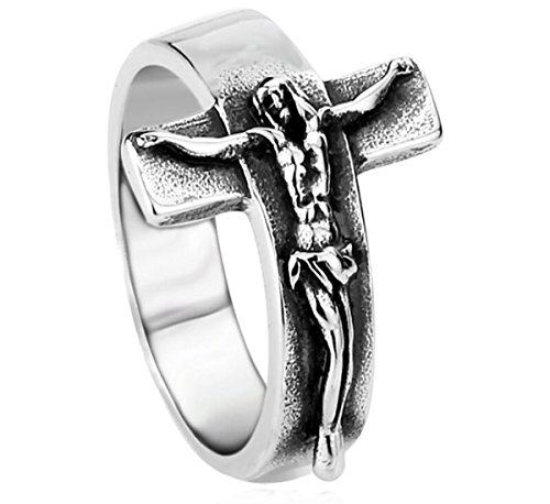 SUNSCSC Vintage Stainless Steel Jesus Cross Band Crucifix Ring (7)