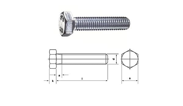 /Galvanised M 6/x 8/mm Pack of 100 Dresselhaus Hexagonal Screws 8.8/with Thread up to Head DIN EN ISO 4017/933/