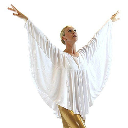 Danzcue Womens Angel Wing Drapey Pullover Dance Top, White, L-XL
