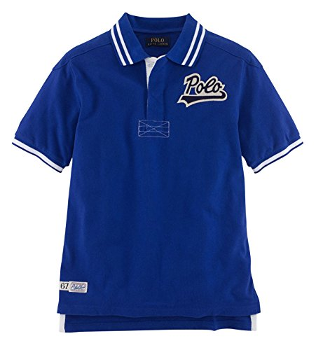 Ralph Lauren Boys Patch Cotton Mesh Short Sleeved Polo Shirt (Rugby Royal) (L(14-16)) (Cotton Mesh Rugby)