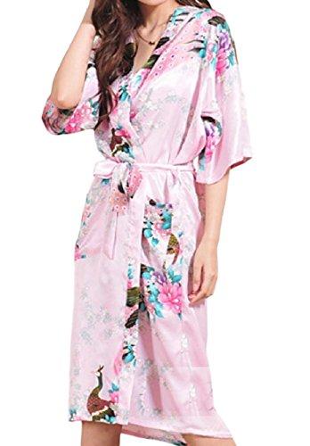 FreelyWomen Open Front Peacock Floral Spring Charmeuse Silk Gown Bathrobe Pink ()
