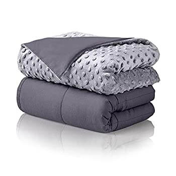 Image of Home and Kitchen ALPHA HOME Weighted Blanket Adult 16 Lbs with Removable and Washable Minky Cover, 60x80 Inches Weighted Blanket 100% Cotton with Glass Beads, Grey Inner Blanket & Light Grey Cover