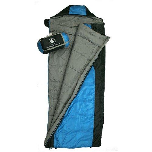 10T Selawik 150M - Einzel Decken-Schlafsack 200x80cm mit Kapuzen-Kopfteil 1400g schwarz/blau bis -2°C
