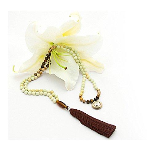 Serpentine Pendant Bead - Serpentine, Picture Jasper and Rudraksha 108 Bead Mala