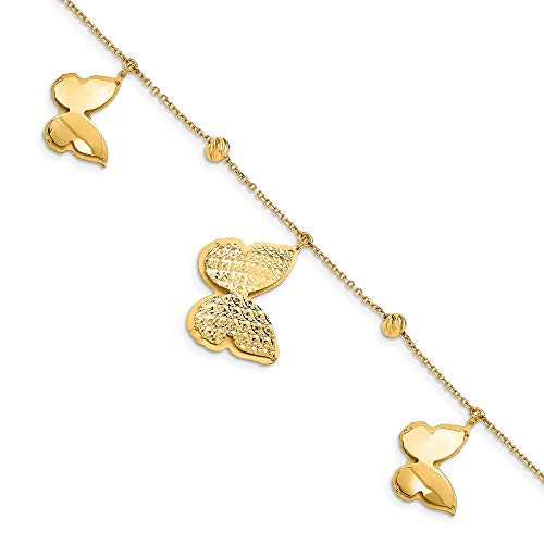 (14k Yellow Gold Beads Butterfly Dangle 1 Inch Extension Bracelet 7.5 Fine Jewelry Gifts For Women For)