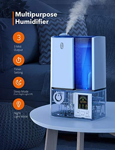 TaoTronics Humidifiers, 4L Cool Mist Ultrasonic Humidifier For Bedroom Home Large Room Baby Room, Quiet Operation, LED Display With Humidistat, Waterless Auto Shut-off (1.06 Gallon, US 110V)