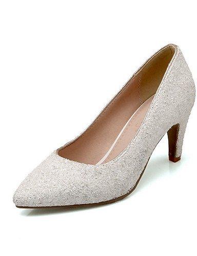 GGX/Damen Spitz geschlossen Zehen Pull auf Blend Materialien massivem High Heels pumps-shoes white-us9 / eu40 / uk7 / cn41