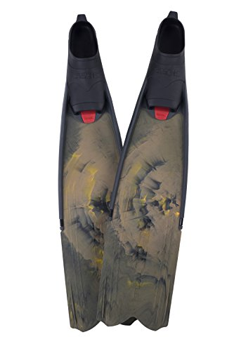 SEAC Motus Camo Long Free Diving Soft & Powerful Fins for Spearfishing Camo Brown, 41/42