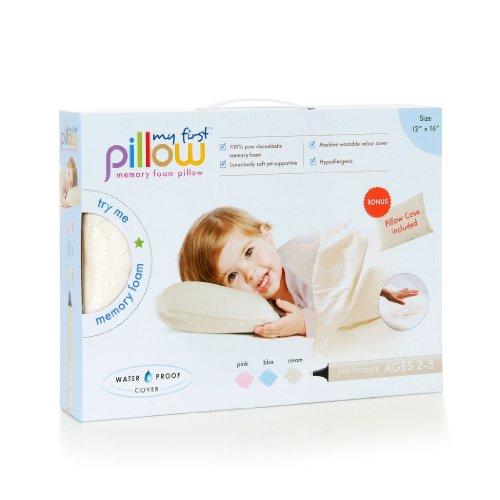 "My First Kids Toddler Pillow Premium Memory Foam Toddler Pillow with Pillowcase, Cream, 12"" x 16"""