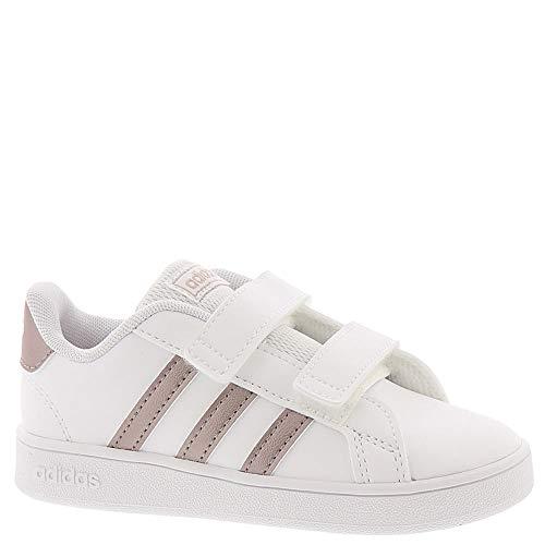 adidas Baby Grand Court Sneaker, White/Copper Metallic/Glow Pink, 10K M US Toddler