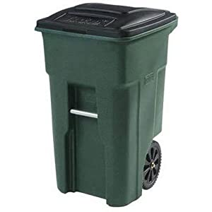 2. Toter 025532-R1GRS Residential Heavy Duty 2-Wheeled Trash Can with Attached Lid, 32-Gallon, Greenstone