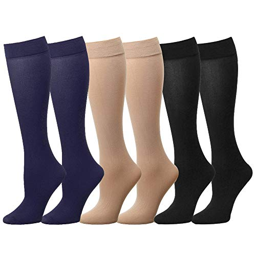 Falari 6-Pack Women Trouser Socks with Comfort Band Stretchy Spandex Opaque Knee High (6-Pack Assorted - Trouser Sock Womans