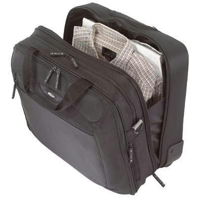 Citygear Notebook Case - CityGear Rolling Travel Laptop Case, Nylon, 18 x 10 x 15, Black/Silver