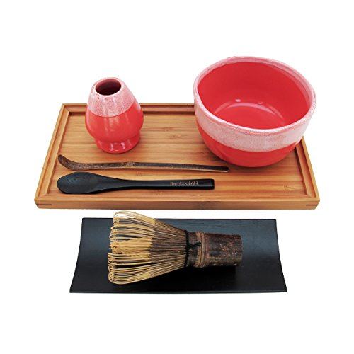 BambooMN Brand - Matcha Bowl Set (Includes Bowl, Rest, Black Tea Whisk, Black Chasaku, Black Tea Spoon, Rest Tray & Tray) - Coral