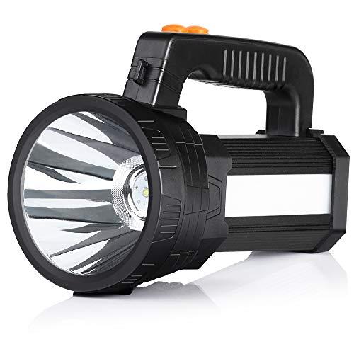 BUYSIGHT Rechargeable spotlight,Spot lights hand held large flashlight 6000 lumens handheld spotlight Lightweight and Super bright flashlight Outdoor spotlight flashlight Camping Flood searchlight -