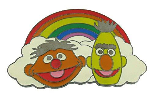(SESAME STREET Set of FOUR (4) Characters Enamel Finish Metal BELT BUCKLES (Rainbow Bart and Ernie))