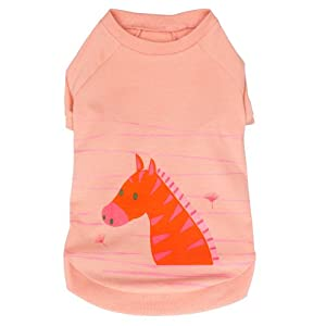 "Blueberry Pet Henry the Zebra Cotton Dog Shirt in Light Apricot for Puppy, Back Length 8"", Pack of 1 Clothes for Dogs"
