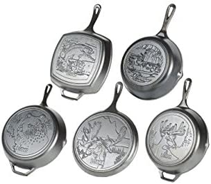 Lodge Wildlife Series – Seasoned Cast Iron Cookware. Wildlife Scenes. 5 Piece Iconic Collector Set Includes 8 inch Skillet, 10.25 inch Skillet, 12 inch Skillet, 10.5 inch Grill Pan, 10.5 inch Griddle