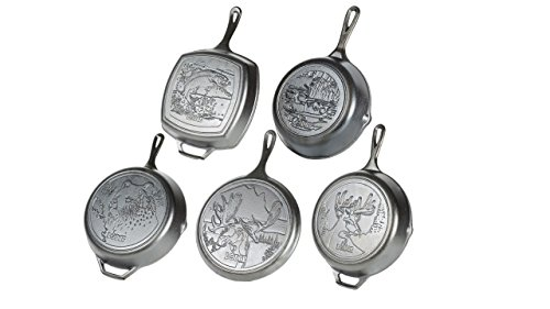 "Lodge Wildlife Series - Seasoned Cast Iron Cookware with Wildlife Scenes. 5 Piece Iconic Collector Set Includes 8"" Skillet, 10.25"" Skillet, 12"" Skillet, 10.5"" Grill Pan, and 10.5"" Griddle"
