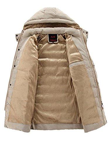 Otoño 2 Color Hombres Abrigo Estilo Capucha Cremallera Caqui Con Patchwork invierno Desmontable Vogstyle De Tg5nRfq5w