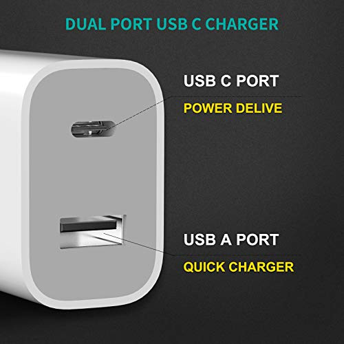 DWH 2-Port Fast Charger with 18W USB C Power Adapter, USB C Charger, Compact Type C Wall Charger for 12/12Mini/12Pro/12Pro Max/11Pro Max/XR/X/SE/8/Pixel 4XL/3A XL/3/3XL/Note10/S10/S9 and More