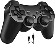 PS3 Controller, PomisGam Wireless Gamepad Compatible for Playstation 3 Bluetooth Double Shock Joystick with SI
