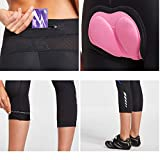 BALEAF Women's 3D Padded Compression Riding Cycling Tights 3/4 Pants Wide Waistband UPF