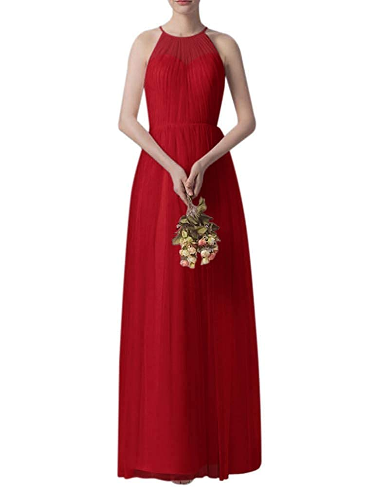 Burgundy Bridesmaid Dress Women's Ruffle Tulle Wedding Cocktail Party Dresses