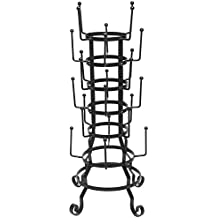MyGift Vintage Rustic Black Iron Mug / Glass / Cup / Bottle Hanger Hooks Drying Rack Organizer Stand