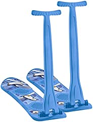 Superio Kids Snow Scooter Sled, Sliding Ski Snowboard with Grip Handle, Blue. 2-Pack.