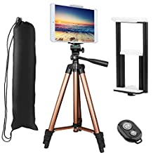 """Tripod for iPhone iPad, PEYOU Upgraded 50"""" Aluminum Camera Tripod + [2 In 1] Tablet & Phone Holder Mount With Wireless Bluetooth Remote Shutter for iPhone Xs/Xs Max/X 8/8 Plus 7/7 Plus 6/6 Plus SE, Compatible With Samsung Galaxy S9/S9 Plus S8/S8 Plus S7/S7 Edge S6 Edge/S6 S5, Compatible With Apple iPad Pro 9.7"""" iPad Air 1/2 iPad Mini 1/2/3/4, Sumsung Galaxy Tablet and More Phones & Tablets & Cameras"""