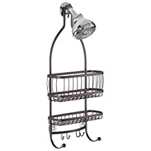 InterDesign York Lyra Bathroom Shower Caddy, for Shampoo, Conditioner, Soap and Razors - Bronze