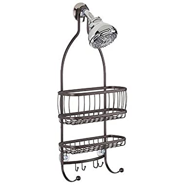 InterDesign York Lyra Bathroom Shower Caddy, for Shampoo, Conditioner, Soap and Razors - Bronze