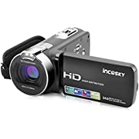 incoSKY Video Camera Camcorder,1080P 24MP 16X Digital Zoom Camera With 2.7' TFT LCD 270° Rotation Screen, Black