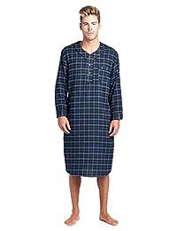 Ashford & Brooks Mens Flannel Plaid Long Sleep Shirt Henley Nightshirt