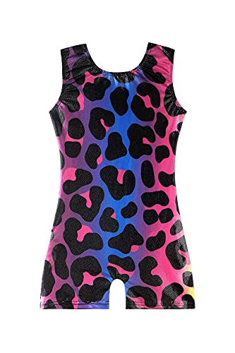 rainbow leotards for girls gymnastics size 8-9 9-10 8-10 years old leopard outfits apparel clothes blue pink purple colorful multicolored biketard