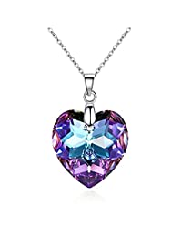 18 ct Gold Plated Purple Heart Crystals from Swarovski Love Pendant Chain Necklace