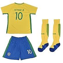 FWC 2014 Neymar Jr 10 Brazil Brasil Home Futbol Football Soccer Kids Jersey & Short