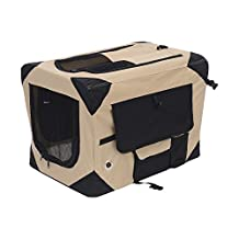 PawHut D00-008YL 32-Inch Folding Soft Pet Crate Dog Cage Carrier Kennel Puppy Cat Portable Fabric Travel Bed House (Khaki and Black)