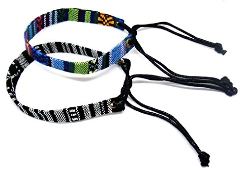 LGBT Woven Handmade Gay  Lesbian Rainbow Bracelet Wristband for Unisex , 2 Pcs (Black  Bule or Navy  Blue But Can Not Select Color)
