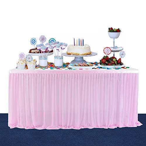 BEST OF BEST STORE Falda de Mesa de Tul Rosa Malla de Tela de Tela elastica esponjosa para cumpleanos, Bodas y Fiestas de Baby Shower, Banquetes, decoracion del hogar (6ft)