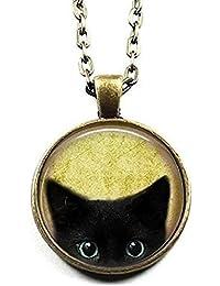 Black Cat Necklace - Peeking Black Cat Pendant - Black Kitty Pendant