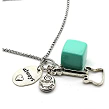 """Stainless Steel Charms Inspiration Necklace, 36"""" Long Necklace, Always Follow Your Heart, LMC17"""