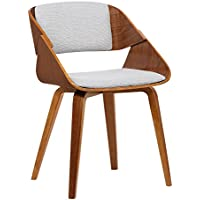 Armen Living LCIVCHWAGREY Ivy Dining Chair in Grey Fabric and Walnut Wood Finish