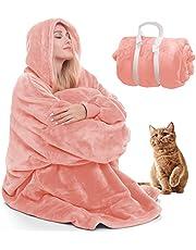 Deken Sweatshirt Deken Hoodie Warme Deken Hoodies voor Vrouwen Draagbare Deken Vrouwen Oversized Hoodie Deken voor Volwassenen en Ouderen, Gezellige Deken met Mouwen en Reuzenzak (Lichtroze)